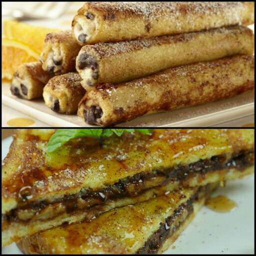 French Toast Rolls & Nutella Stuffed French Toast