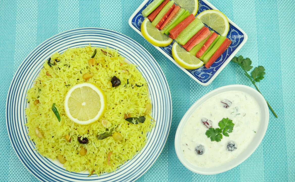 Lemon rice with loki ka (bottle gourd) raita Recipe